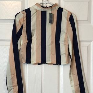 Misguided chunky stripe crop top, size 2, NWT